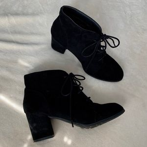 Black suede lace up heeled bootie